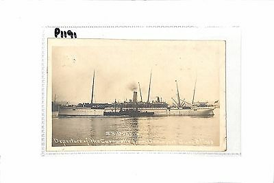 S S Dunera SHIP Departure of the Cornwall from Devon Port 1905 Postcard