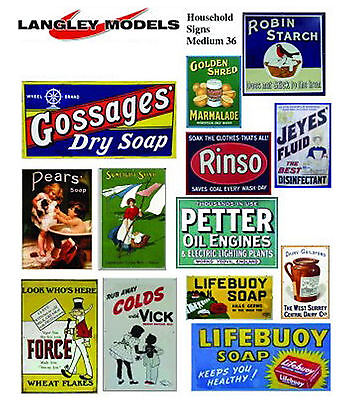 Household Posters large. Paper Reproductions Old Enamel Decals O Scale SMF35