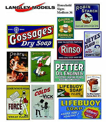 Household Posters large. Paper Reproductions Old Enamel Signs O Scale SMF35