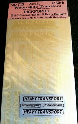 Langley Models Pickfords / Econofreight O Scale 1:50 Waterslide Transfers 50-T10