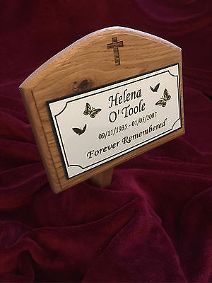 Solid Oak Wood Memorial Plaque -Grave Marker Personalised to any requirement