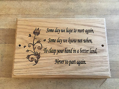 Engraved Oak Wood Memorial Plaque - Grave Marker Personalised to  requirements