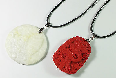 Two New Oriental Pendants With Leather & Metal Chains