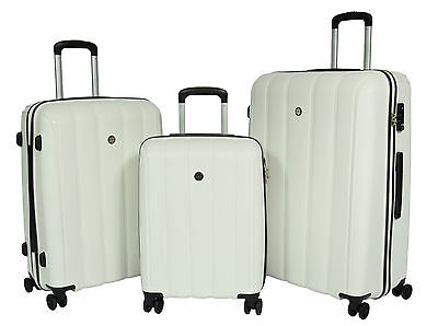 Quality Travel Luggage WHITE Suitcase Strong Hard Shell TSA Lock 4 Wheeler Bags