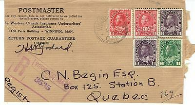 1945 Winnipeg, Man. 3 Ring Orb Cancel on Registered Cover to Quebec Admirals