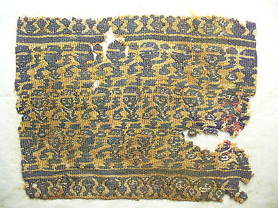 Tightly Woven Coptic Textile Fragment with Stylized Figures
