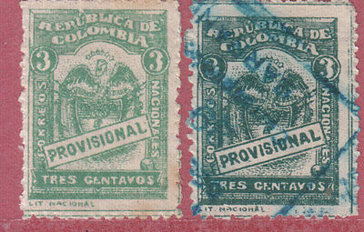 Colombia 1920 2 Stamps Used 1 Light & 1 Dark Green