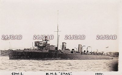 """Royal Navy Real Photo RPPC. HMS """"Stag"""" 2 Funnel Destroyer. Rare! Fine Image 1914"""
