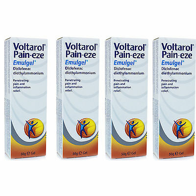 4 x 50g Voltarol Pain-eze Gel Penetrates pain and inflammation relief aches