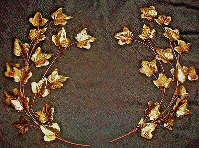 HOMCO IVY BRANCHES leaves brass gold metal  home interiors vintage wall set.