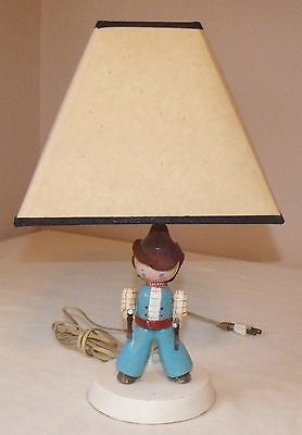 vintage wooden cowboy nursery lamp with shade hard to find
