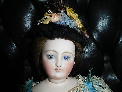"""17"""" Antique Early Jumeau French Fashion Doll, Mkd Kid Body, Exquisitely Dressed"""