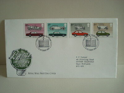 Great Britain Stamps First Day Cover 1982 British Motor Cars
