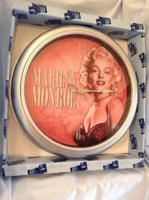 "Marilyn Monroe Wall Clock  Wood Cordless 15 3/4""  Vandor #70089 w/ box $25.99"