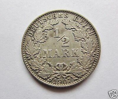 1907 D 1/2 Mark Silver Coin German Empire
