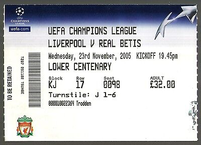 2005/06 LIVERPOOL v REAL BETIS - CHAMPIONS LEAGUE TICKET - MINT & POSTFREE