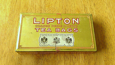 Vintage 30s LIPTON Orange Pekoe & Pekoe Tea Bag Hinged Tin Kitchen Collectible