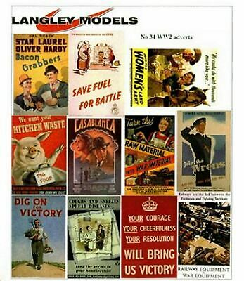 Langley Models WW2 Posters Sml Paper Copies old Enamel Signs N Scale SMF32