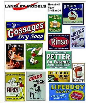Household Adverts Small Paper Reproductions of old Enamel Signs N Scale SMF37