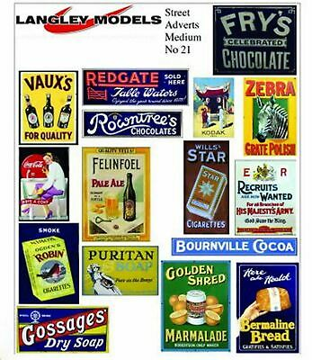 Street advert signs Small Paper Reproductions of old Enamel Signs N Scale SMF20n