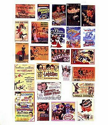 Cinema Theatre Posters Small Paper Copies old Enamel Decals N Scale SMF40
