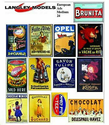 Langley Models European Ads Sml Paper Copies old Enamel Signs N Scale SMF25n