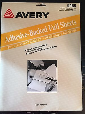Avery  #5455 Adhesive-Backed Full Sheet Label Paper