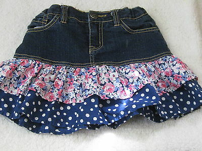 Girls Est. 1989 Place Denim Layered Skort Floral/ Polka Dots Size 6