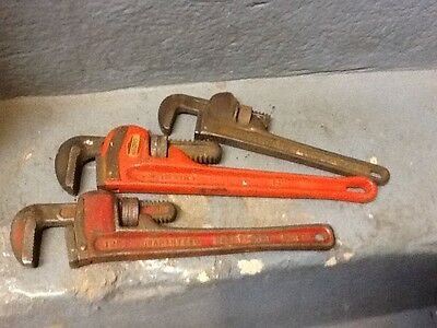 """Ridgid pipe wrenches 14"""" and 10"""" + a 12"""" in heavy duty pipe wrench."""