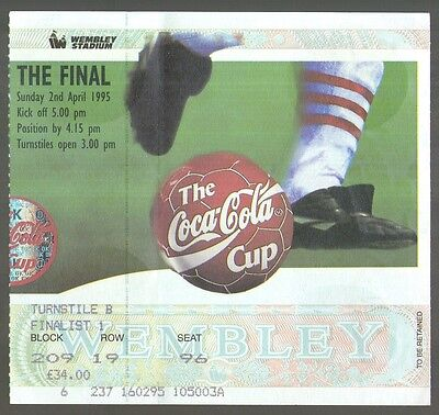 1995 LEAGUE CUP FINAL - LIVERPOOL v BOLTON WANDERERS - TICKET - POSTFREE