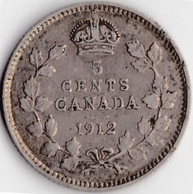 1912 CANADA SILVER FIVE CENTS Coin