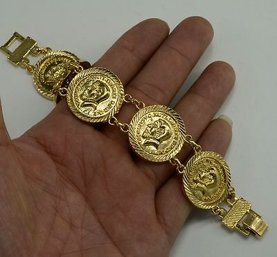 George V Sovereign British Coin Bracelet Ornate Gold Jewelry Piece 19cm Mount