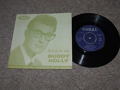 BUDDY HOLLY LISTEN TO ME E.P. = RARE UK 7inch E.P. FEP 2002 ON CORAL EX COND