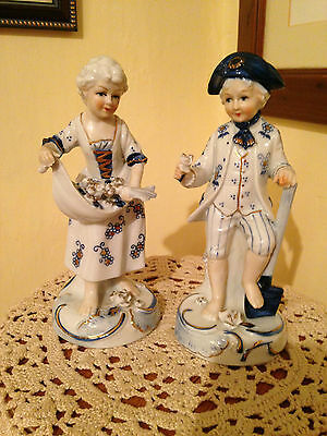 Porcelain Boy & Girl in Blue White and Gold Colours