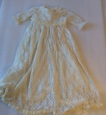 Antique Vintage Victorian Childs Long Lace Christening Gown Dress Doll (AB)