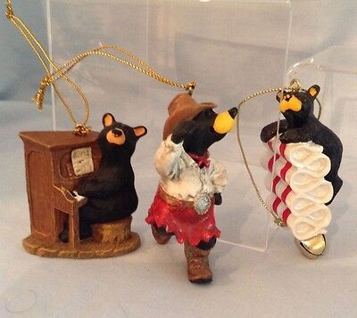 Big Sky Carvers 3 Bearfoots Ornaments Jeff Fleming   piano, cowgirl ,candy  $30