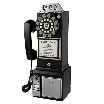 Retro Home Phone Wall Mounted Classic American Diner Telephone Vintage Fifties
