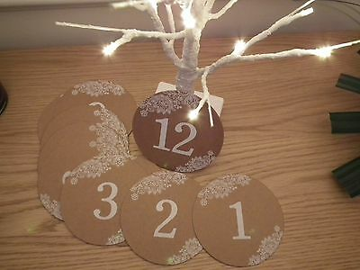 Wedding Table Numbers 1-12 Vintage Look Shabby Chic Country Style Party Table