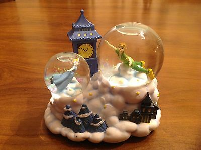 """Disney Enesco Snowglobe Peter Pan and Wendy """"You can Fly"""" Musical"""