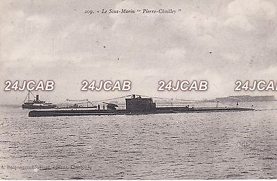 """French Navy Postcard. """"PIERRE CHAILLEY""""  Double Hulled Submarine. c 1922"""