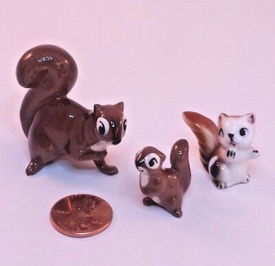 """3 VINTAGE MINIATURE SQUIRREL FIGURINES Mother and Baby Babies BONE CHINA 1.5"""""""