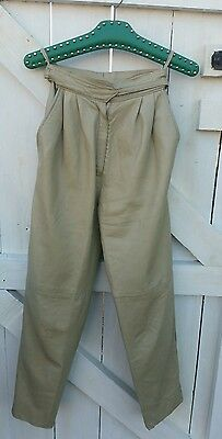 """Vintage 80s beige leather trousers high waisted  tapered leg XS 24"""""""