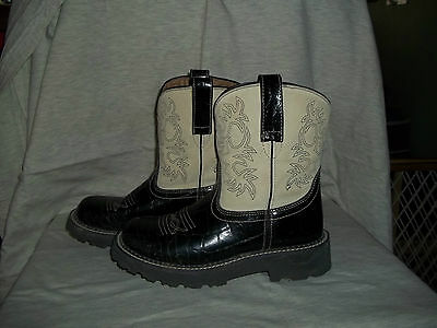 Ariat Fatbaby Boots-Womens-Size 7 B-Black & Cream Color- Croc Pattern-VGC
