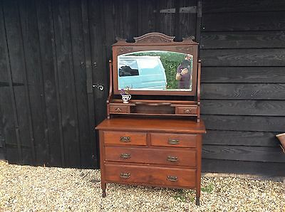 Antique Edwardian Satinwood Dressing Chest Table Chest Of Drawers Mirrored