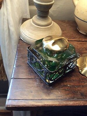 Art Nouveau Cut Glass Fretwork Brass Topped Inkwell Victorian Edwardian