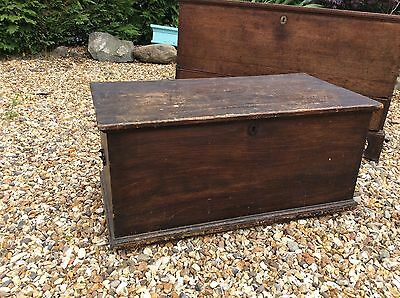 Victorian Antique Pine Blanket Chest Coffer Trunk Coffee Table Storage Bedroom