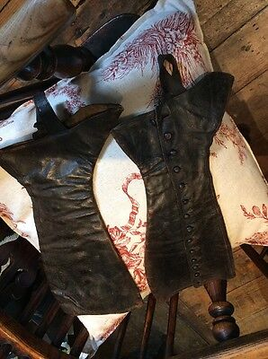 Erotic antique Edwardian spats gaiters theatrical costume brown leather size 4