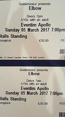 Elbow tickets (2) London Eventim Apollo Sunday 5th March 2017