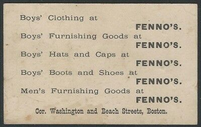 19th Century Boston Boys' and Mens' Clothing Store Card