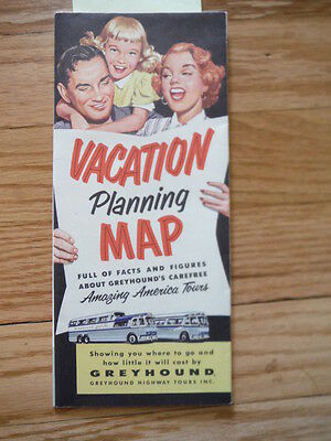 Vacation Planning Map Full of Facts and Figures about Greyhound's Carefree Ama..